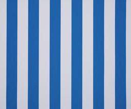 Markise mit blauen Blockstreifen